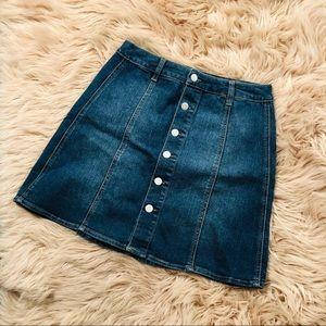 Blue denim button down skirt